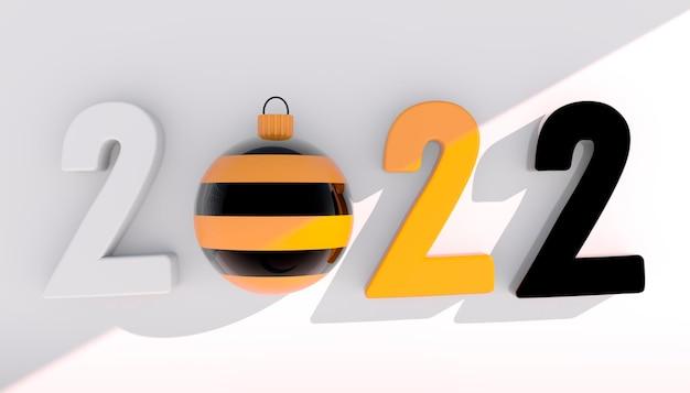 2022년 새해 복 많이 받으세요. 흰색 배경에 기하학적 모양과 크리스마스 공이 있는 3d 숫자입니다. 3d 렌더링입니다.