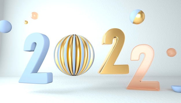 Happy new year 2022. 3d numbers with geometric shapes and christmas ball. 3d render.