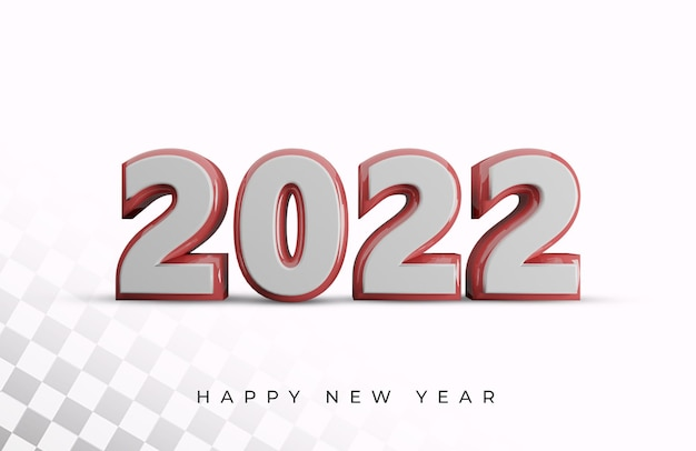 Happy new year 2022 bold number high quality 3d text effect