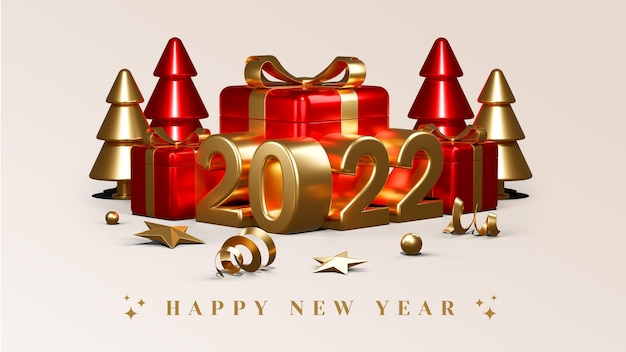 С новым 2022 годом с подарочными коробками, воздушными шарами и конфетти, 3d визуализация иллюстраций