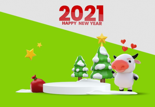 Happy new year 3d rendering mockup design