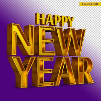 Happy new year bold letter render isolated
