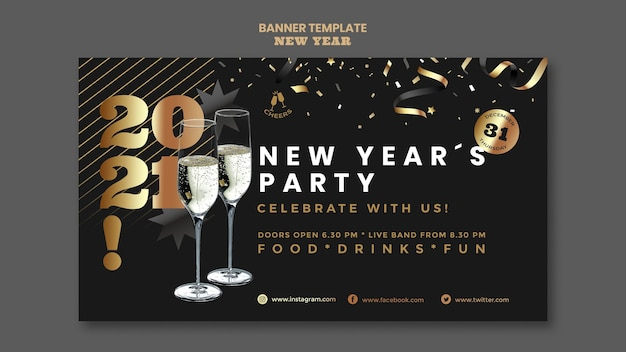 Happy new year party banner template