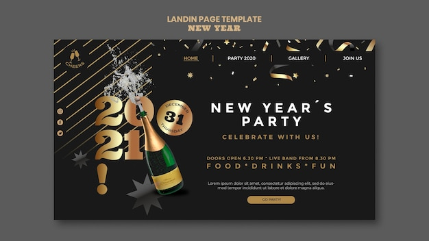 Happy new year party landing page template