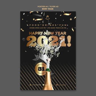Happy new year party poster template