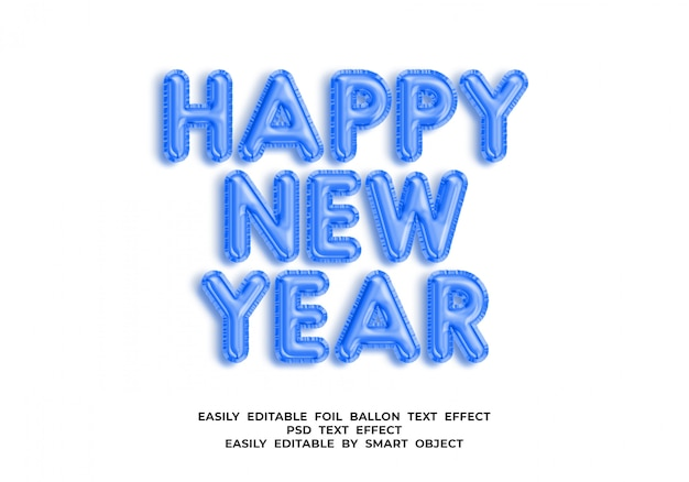 Happy new year text in 3d balloon style