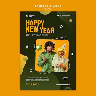 Modello di stampa verticale di felice anno nuovo