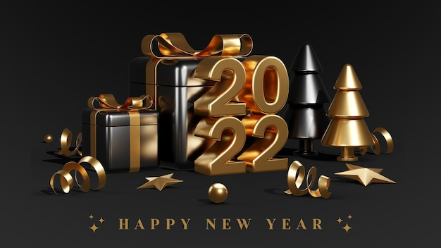 Happy new year with black gift boxes balloons and confetti 3d render illustrations