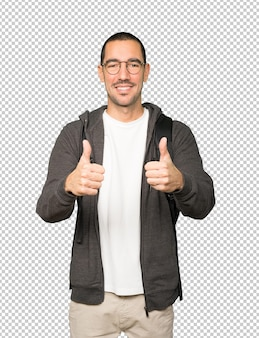 Happy student gesturing that everything is fine