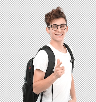 Happy student pointing with his hand