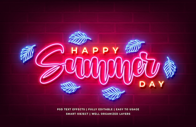 Happy summer day text style effect