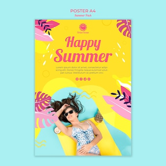 Happy summer poster template