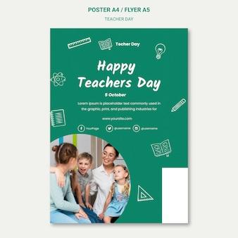 Modello di poster del giorno dell'insegnante felice