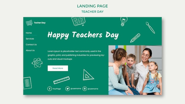 Happy teacher's day with students landing page