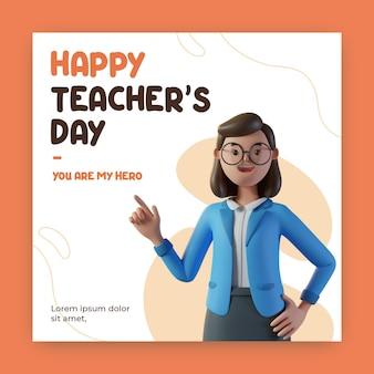 3d 렌더링 캐릭터가 있는 행복한 교사의 날 인스타그램 게시물