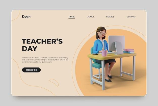 3dレンダリングキャラクターで幸せな教師の日のランディングページ