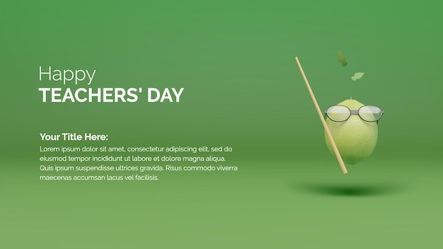 Happy teachers day poster background concept with green lemon with goggles and cane