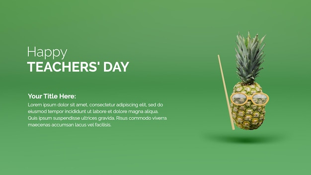 Happy teachers day poster background concept with pineapple and cane on the green background