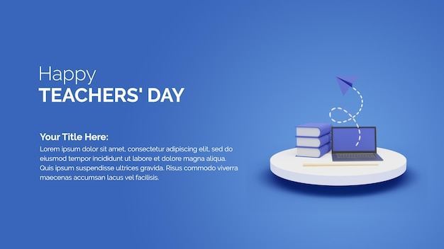 Шаблон happy teachers day с 3d-рендерингом концепции онлайн-класса