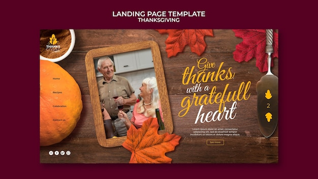 Happy thanksgiving day landing page template