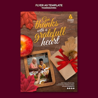 Happy thanksgiving day vertical print template