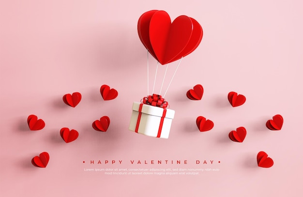 Happy valentine day banner with 3d objects rendering