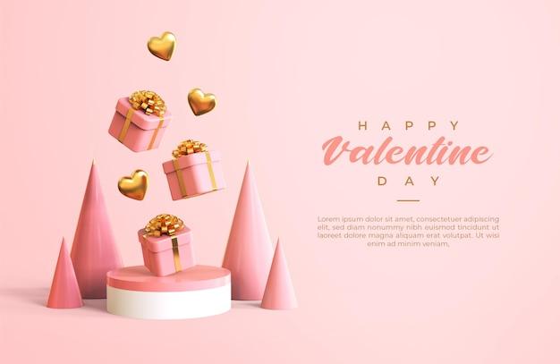3dオブジェクトのレンダリングと幸せなバレンタインデーのバナー