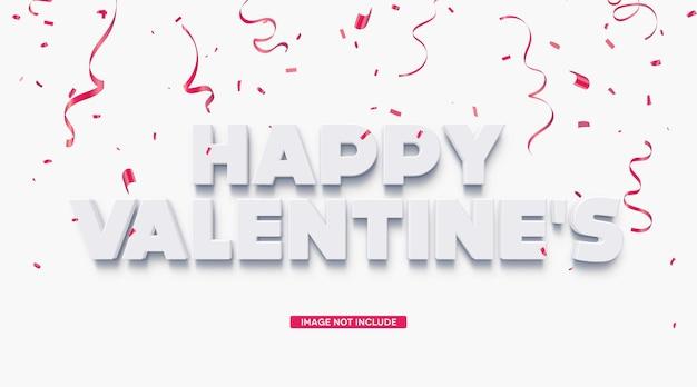 Шаблон с трехмерным текстовым эффектом с днем святого валентина