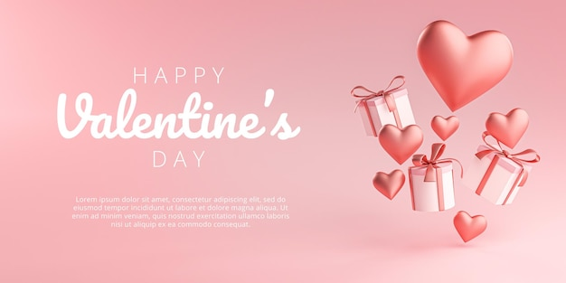 Happy valentine's day banner greeting card heart shape and gift box flying 3d rendering