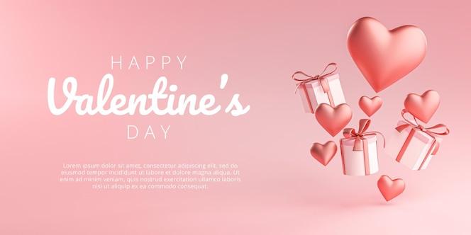 Felice san valentino banner greeting card a forma di cuore e confezione regalo flying 3d rendering
