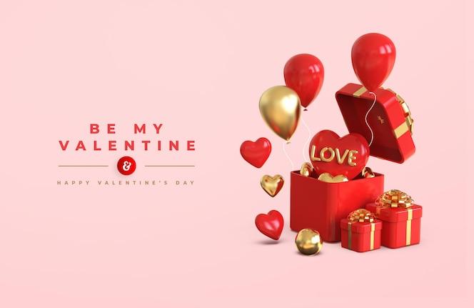 3d 낭만적 인 창조적 인 구성으로 해피 발렌타인 데이 배너 모형