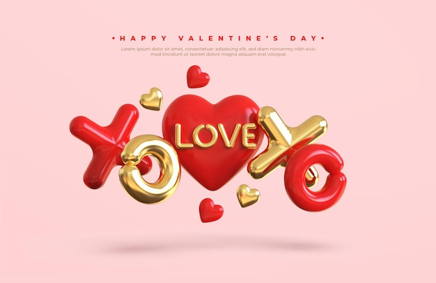 Happy valentine's day banner with 3d romantic creative composition