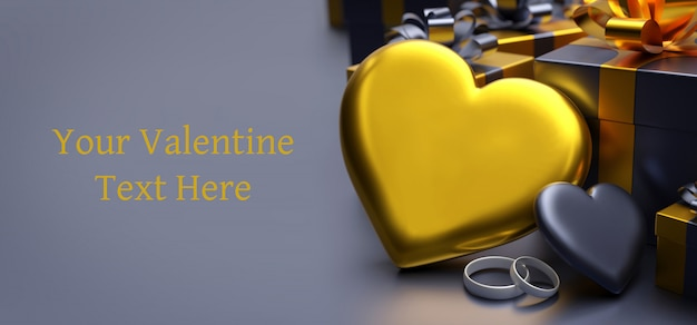 心で幸せなバレンタインのグリーティングテンプレートカード