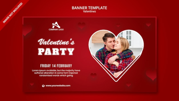 Happy valentine's day party banner template