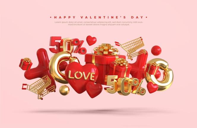 3d 낭만적 인 창조적 인 구성으로 해피 발렌타인 데이 판매 배너 모형