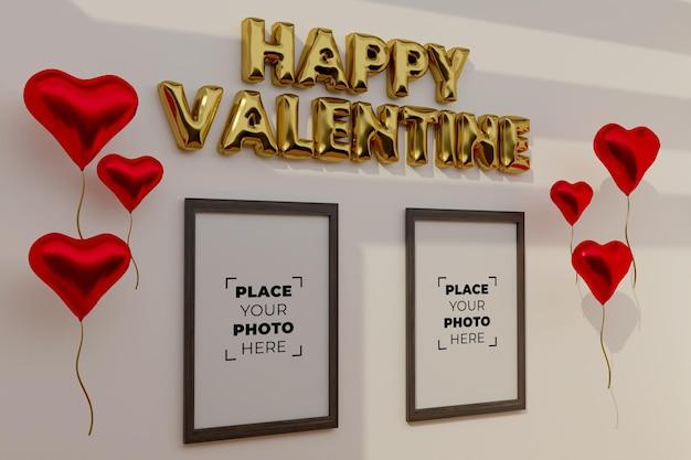 프레임 모형과 함께 해피 발렌타인 데이 장면