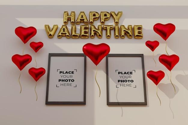 Сцена с днем святого валентина с макетом кадра