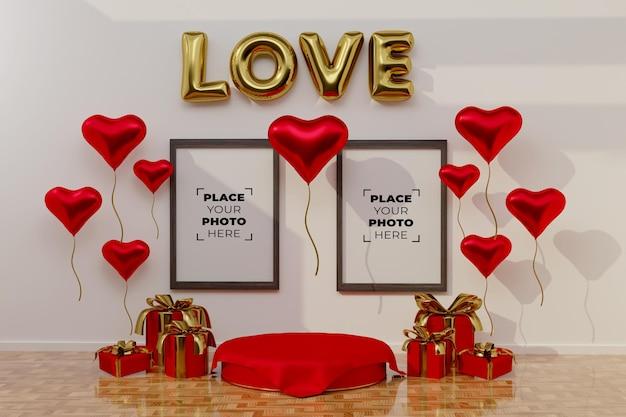 フレームモックアップで幸せなバレンタインデーのシーン