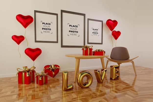 Happy valentine's day scene with frame