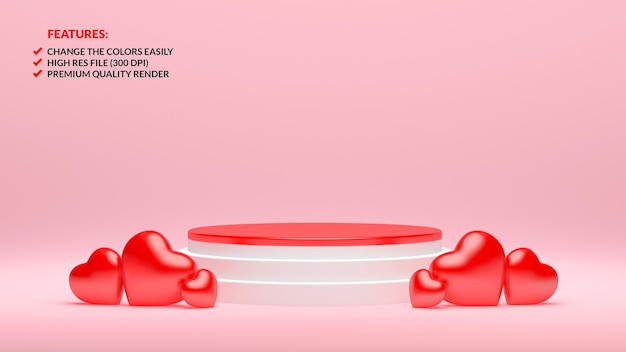 Happy valentine's day white and red podium in 3d rendering