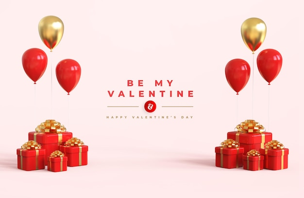 Happy valentine's day with 3d composition