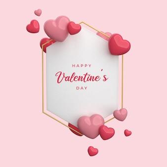 С днем святого валентина с 3d-рендерингом рамки в виде сердца