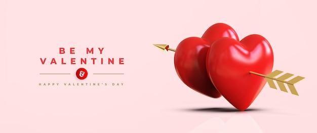 큐피드의 화살표가있는 3d 빨간 하트와 함께 해피 발렌타인 데이