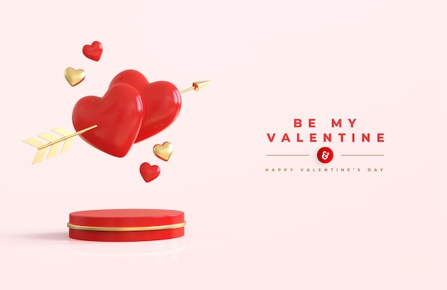 Happy valentine's day with 3d red hearts with an arrow of the cupid
