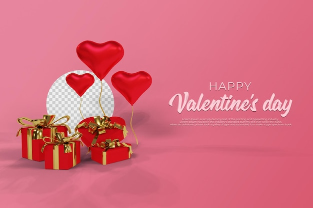 Happy valentine's day with 3d rendering transparent