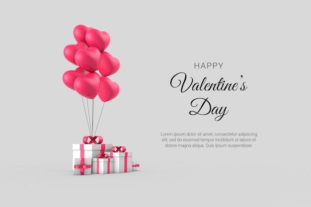3d 낭만적 인 창조적 인 구성으로 해피 발렌타인
