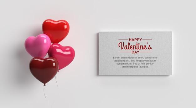 カードと愛の風船のモックアップで幸せなバレンタインデー