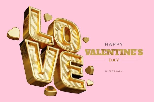 С днем святого валентина с любовью 3d рендеринг смелым изолированным макетом