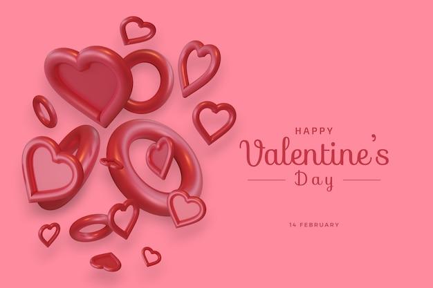 С днем святого валентина с любовью 3d рендеринг смелого макета
