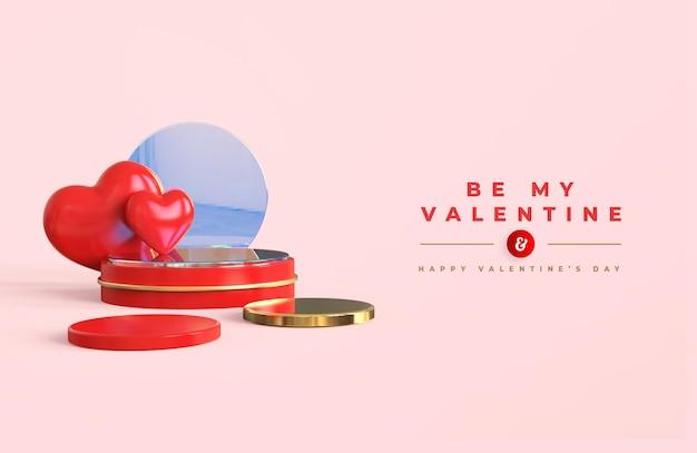 製品のプレゼンテーションと3d構成のための表彰台で幸せなバレンタインデー